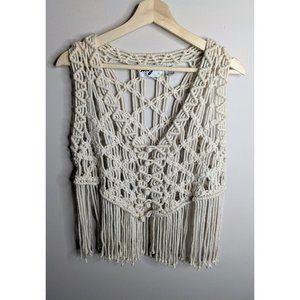 Vintage | Macrame fringe vest